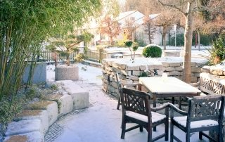 Garden in Winter with Snow
